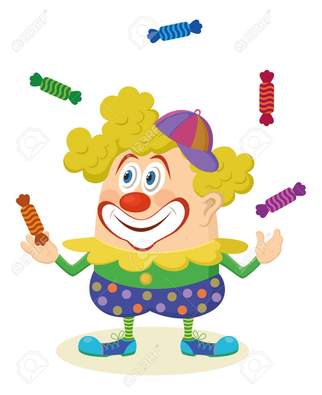Enthousiaste Genre Clown De Cirque En Couleurs Des Bonbons Vêtements De Jonglerie Vacances Illustration Drôle De Personnage De Dessin Animé Isolé