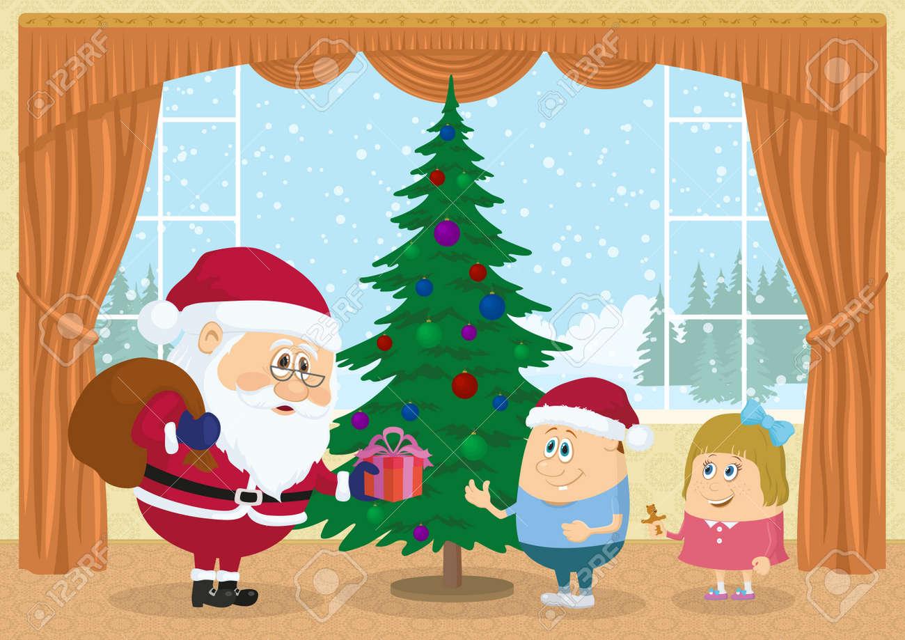 少年と雪に覆われた森クリスマス休日イラスト面白い漫画の