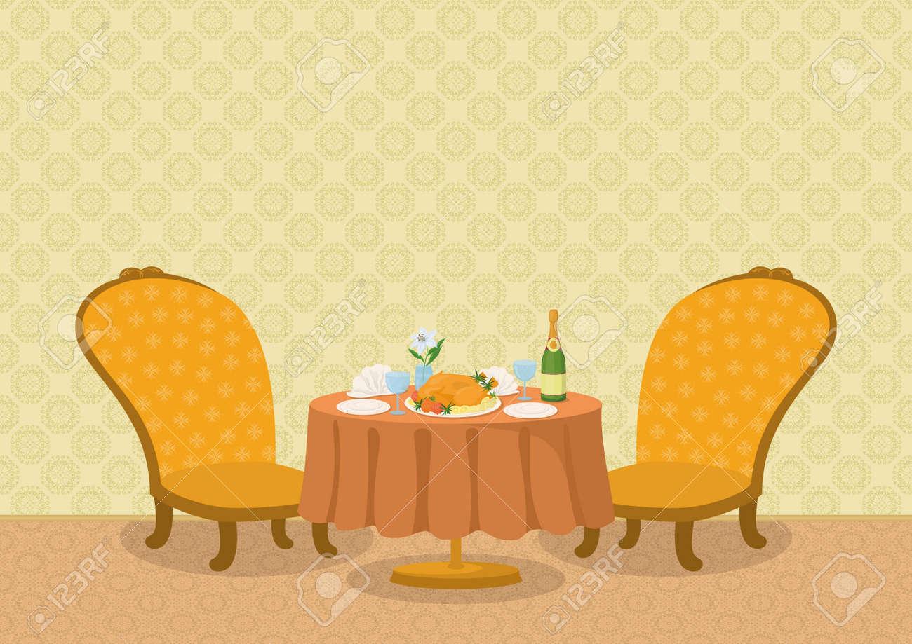2bec25aaabdb Restaurante De Fondo Con La Pared Amarilla, Dos Sillas Y Una Pequeña Mesa  De Comedor Con Platos, Servilletas, Vasos, Botellas De Champaña Y El Pollo  En Un ...
