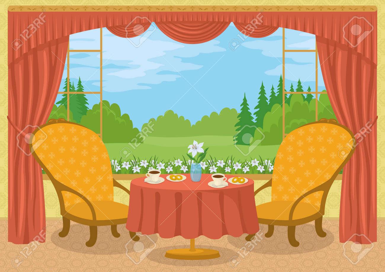 赤いカーテン黄色の壁の部屋2 つの椅子コーヒー カップドーナツ