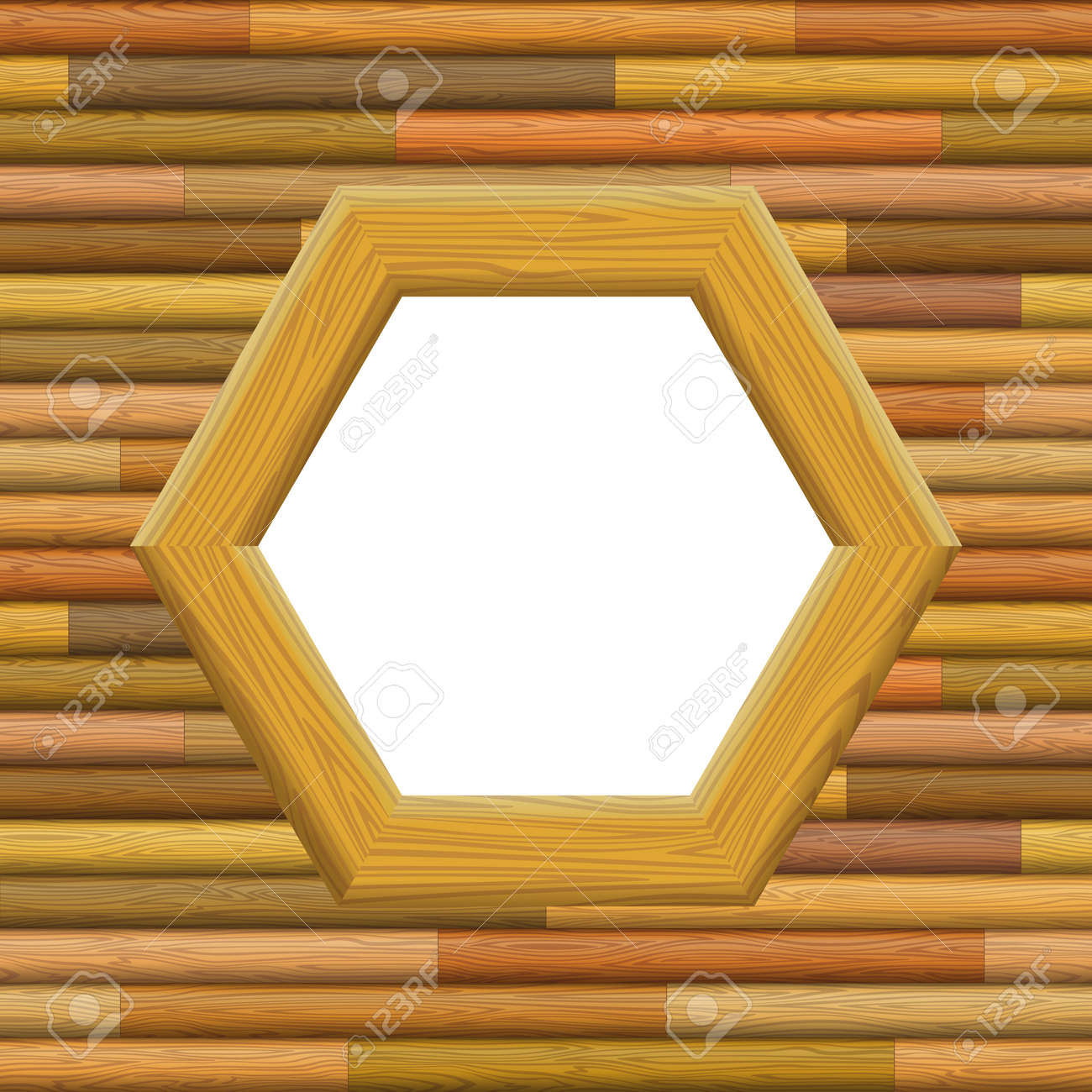 Wooden Hexagon Frame On A Wall With Empty White Space, Background ...