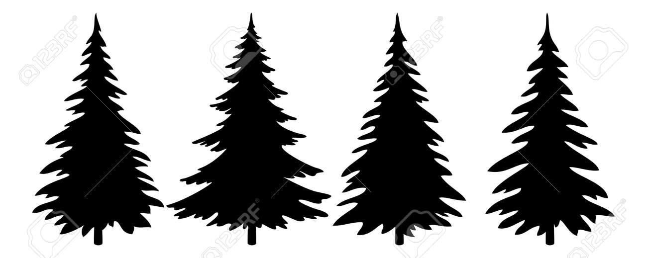 Christmas Trees Set Black Pictogram Isolated On White Background