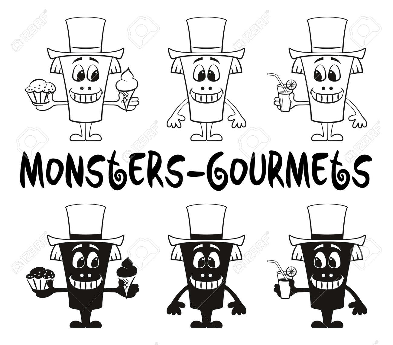 Set Of Cute Cartoon Monsters Gourmets Black Contour And Silhouette Royalty Free Cliparts Vectors And Stock Illustration Image 60378519