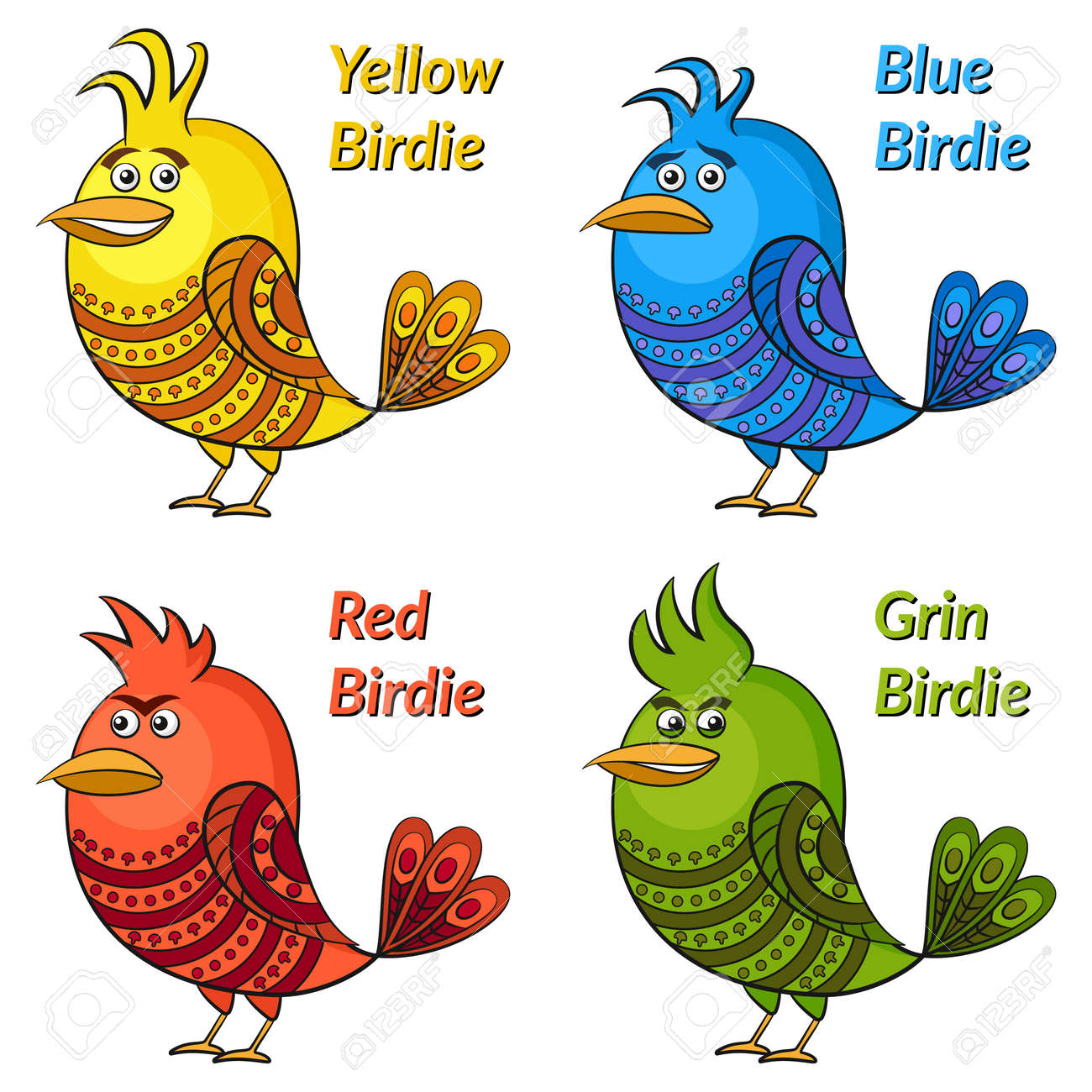 Perfect Set Of Funny Colorful Birds Of Different Colors And Moods, Blue Sad, Red  Angry Nice Design