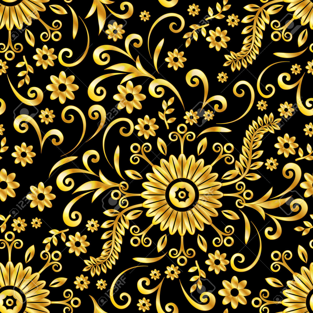 Abstract Seamless Background With Symbolical Gold Floral Patterns