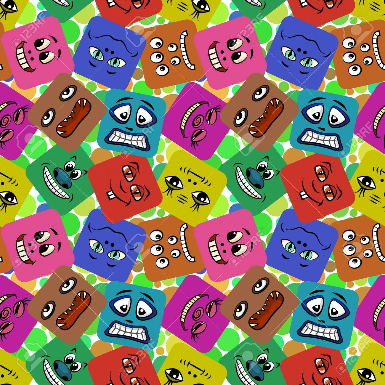 Fond Décran Sans Couture Avec Des Smileys Des Monstres Des Personnages De Dessin Animé Drôles Des Visages Différents Dans Des Carrés Colorés Un