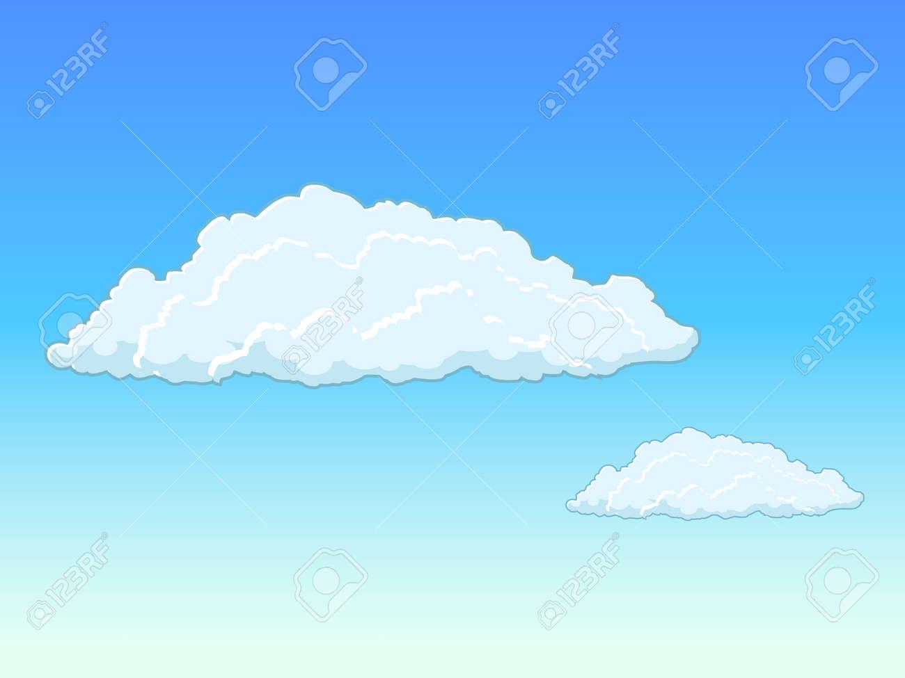 青い空に雲手描きの背景イラスト ロイヤリティフリークリップアート
