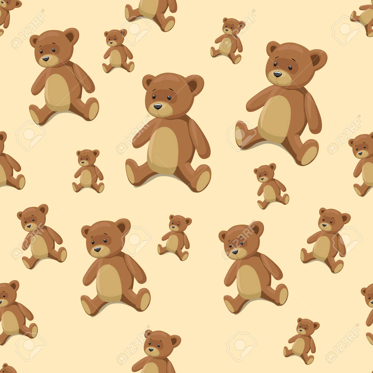 Seamless Pattern Background Teddy Bear Toy Cartoon Hand Drawn