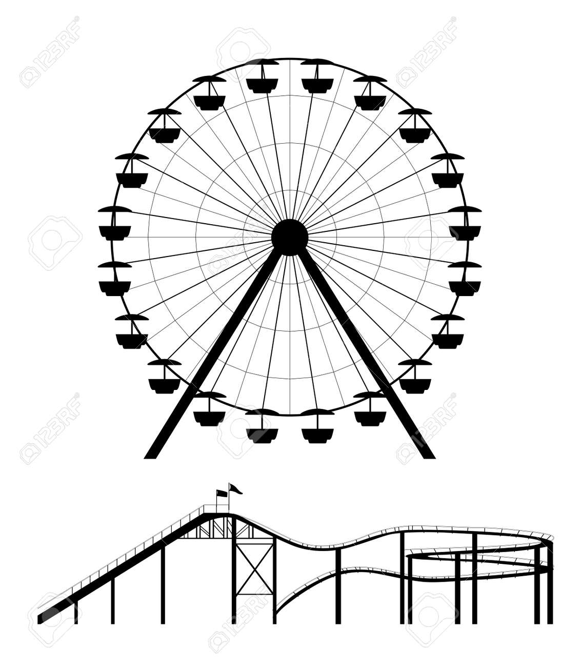 Ferris Wheel And Roller Coaster Silhouette Vector Illustration Royalty Free Cliparts Vectors And Stock Illustration Image 46310787