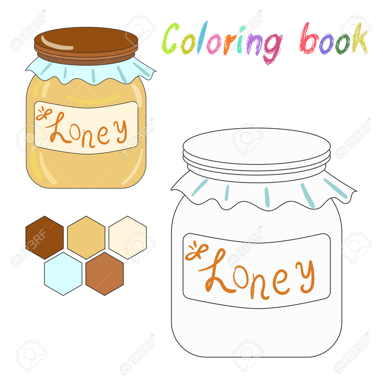 Coloring Book Honey Kids Layout For Game Doodle Hand Drawn Vector Illustration Stock