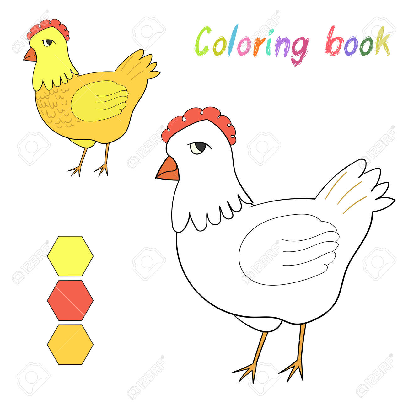 Coloring Book Chicken Kids Layout For Game Doodle Hand Drawn Cartoon Vector Illustration Stock