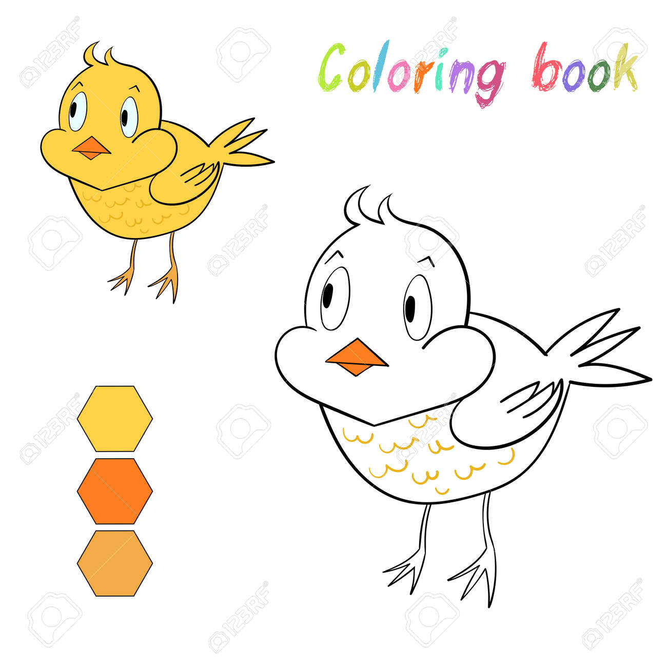 Coloring Book Chicken Kids Layout For Game Cartoon Hand Drawn Doodle Vector Illustration Stock