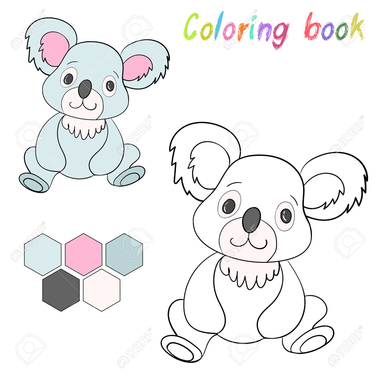 Coloring Book Koala Bear Kids Layout For Game Cartoon Doodle Hand Drawn Vector Illustration Stock