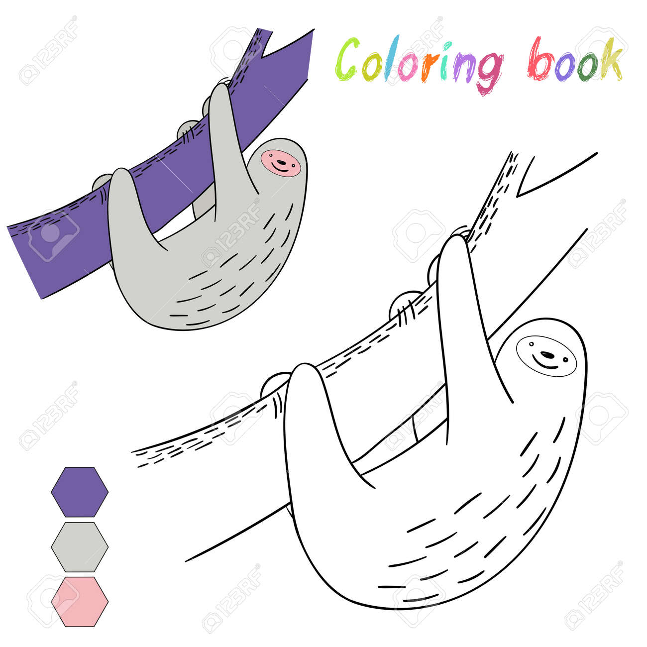 Coloring Book Sloth Kids Layout For Game Doodle Hand Drawn Cartoon Vector Illustration Stock