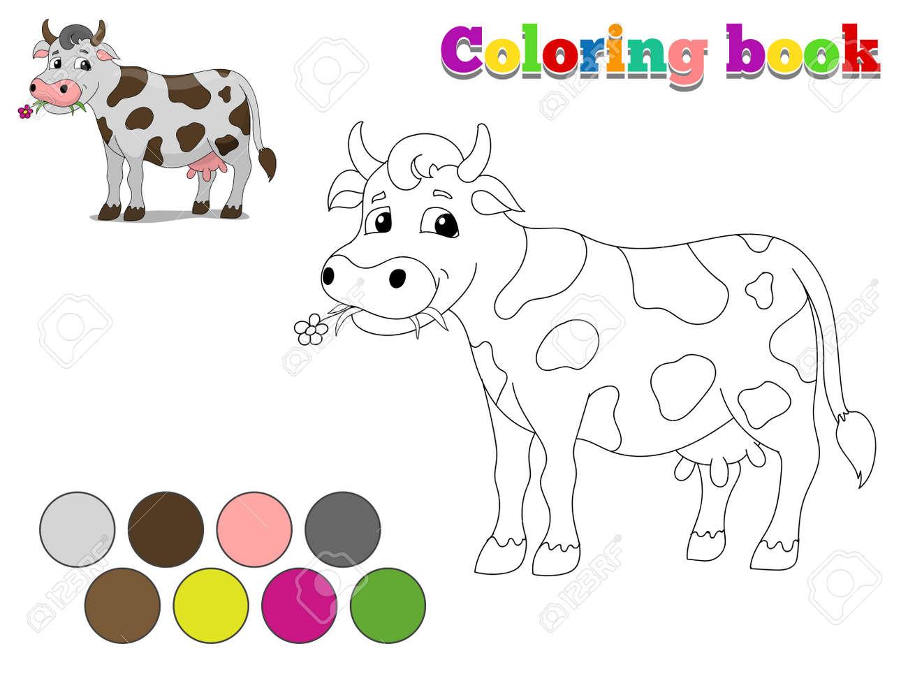 Libro Para Colorear Niños Vaca Diseño Para Dibujos Animados Juego Dibujado A Mano Ilustración Vectorial