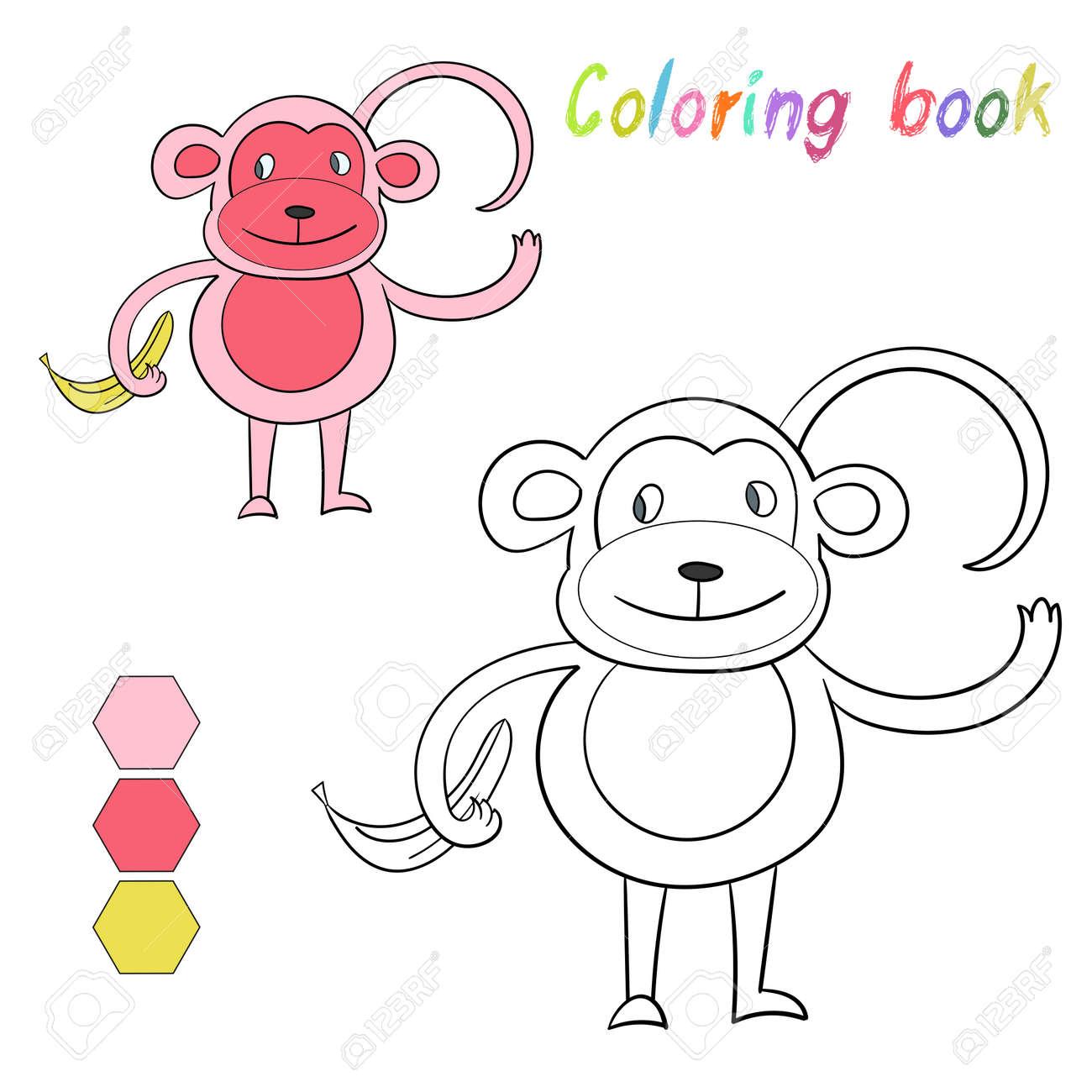 Libro Para Colorear Niños Mono Diseño Para Juego Dibujado Bosquejo ...