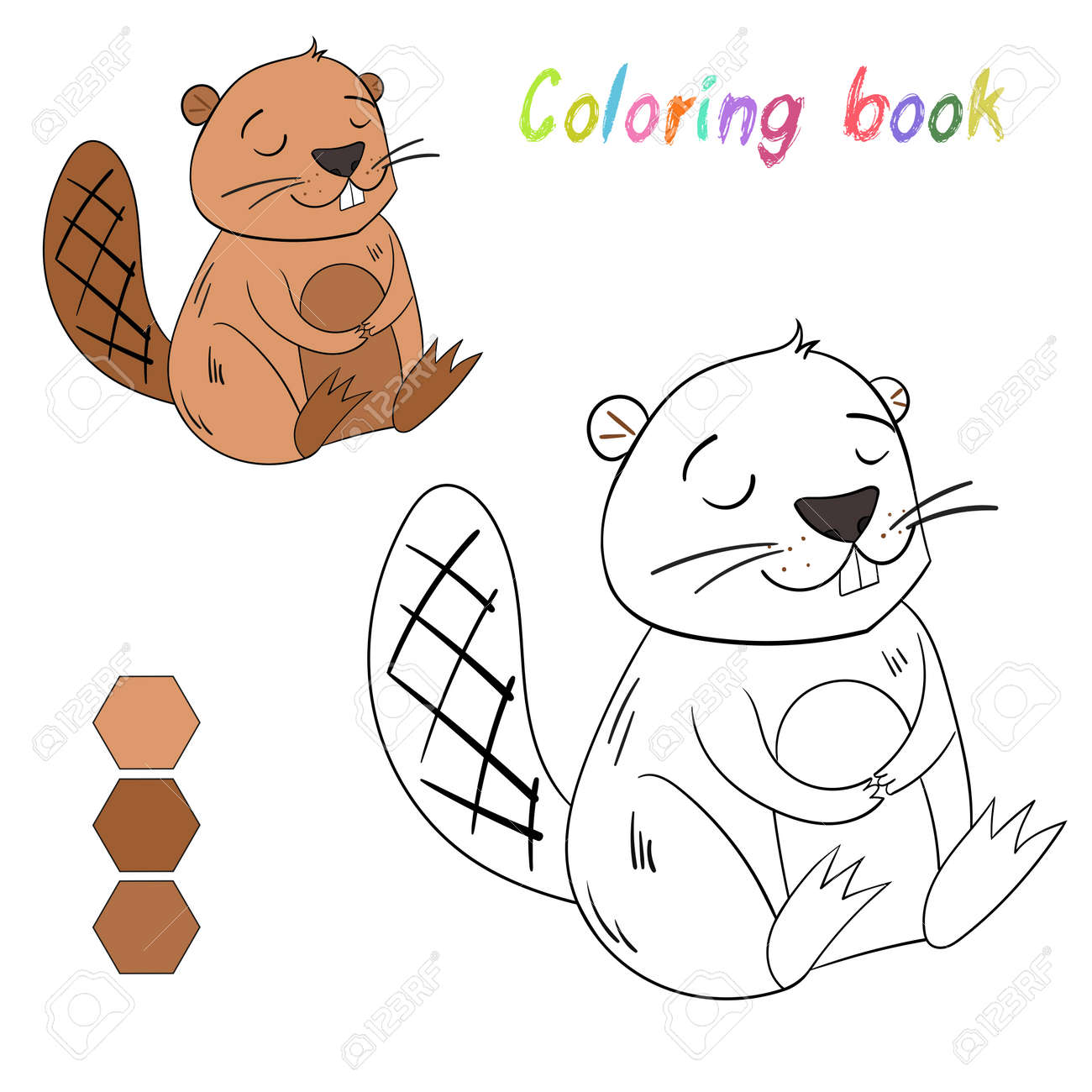 Coloring Book Beaver Kids Layout For Game Cartoon Hand Drawn Doodle Vector Illustration Stock
