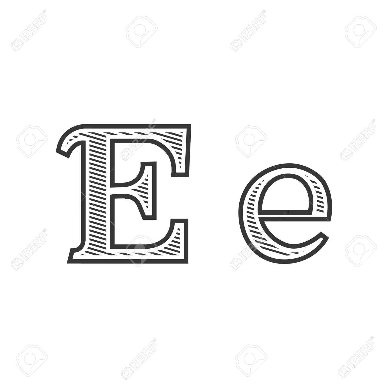 font tattoo engraving letter e black and white with shading royalty