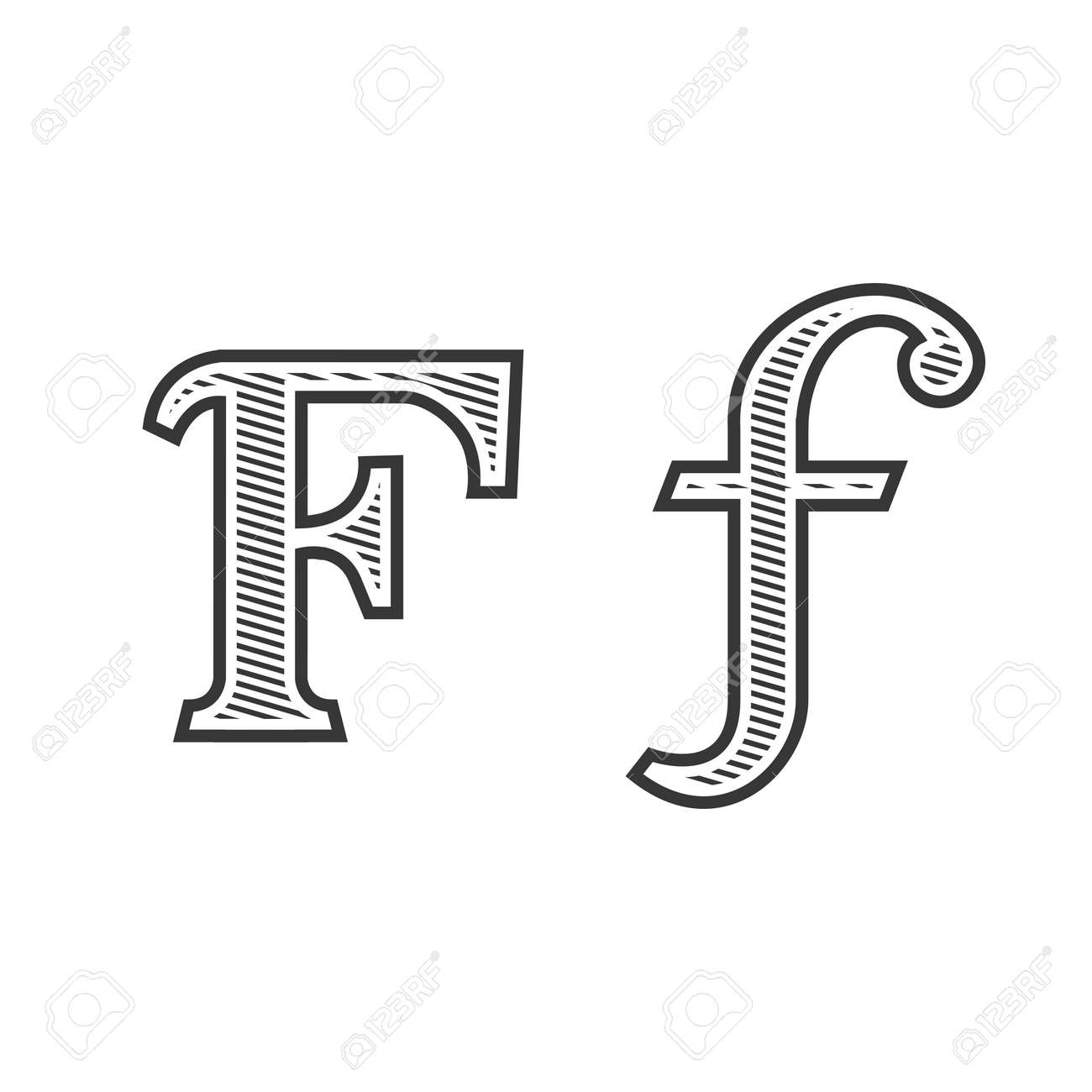 Font Tattoo Engraving Letter F Black And White With Shading Royalty