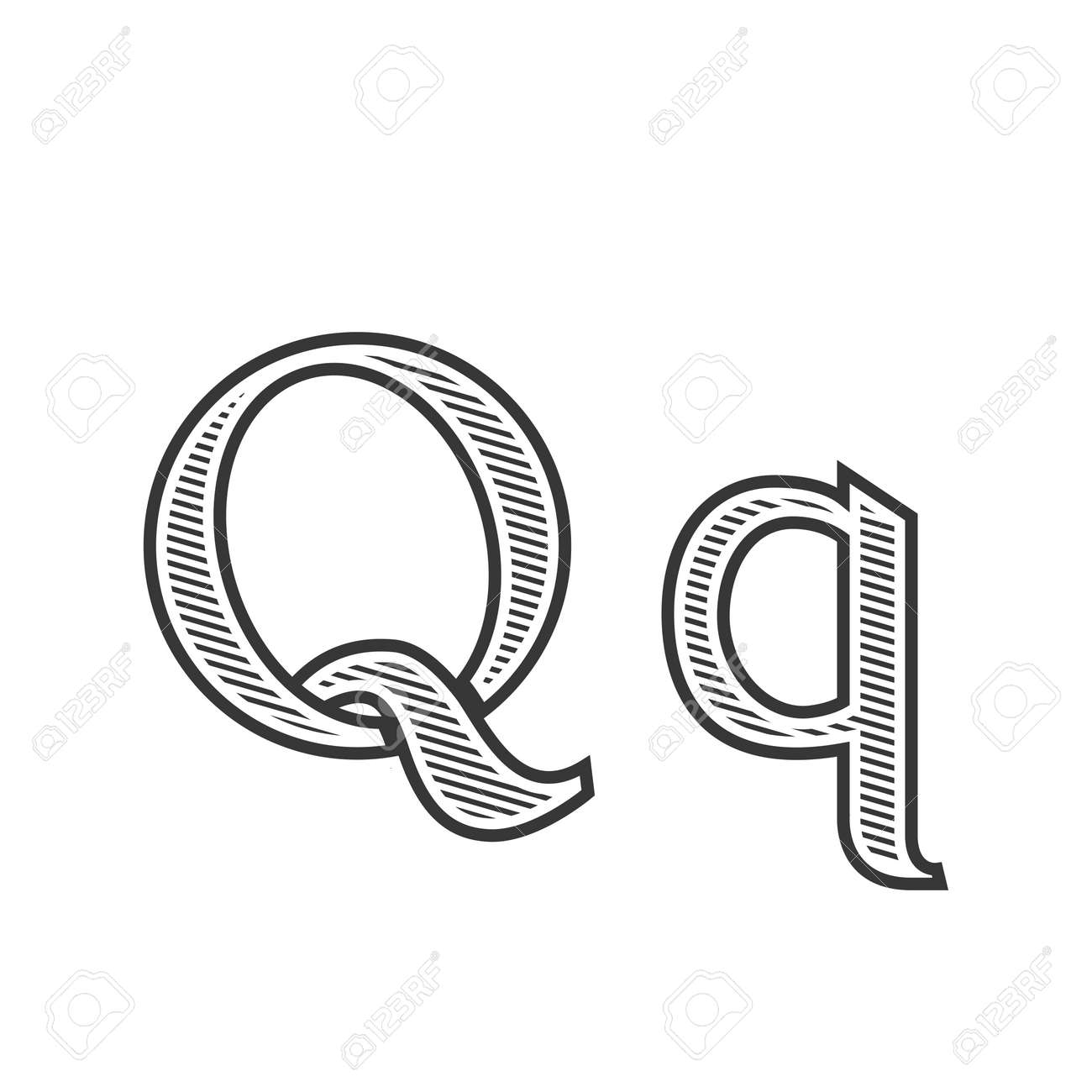 Font Tattoo Engraving Letter Q Black And White With Shading Royalty