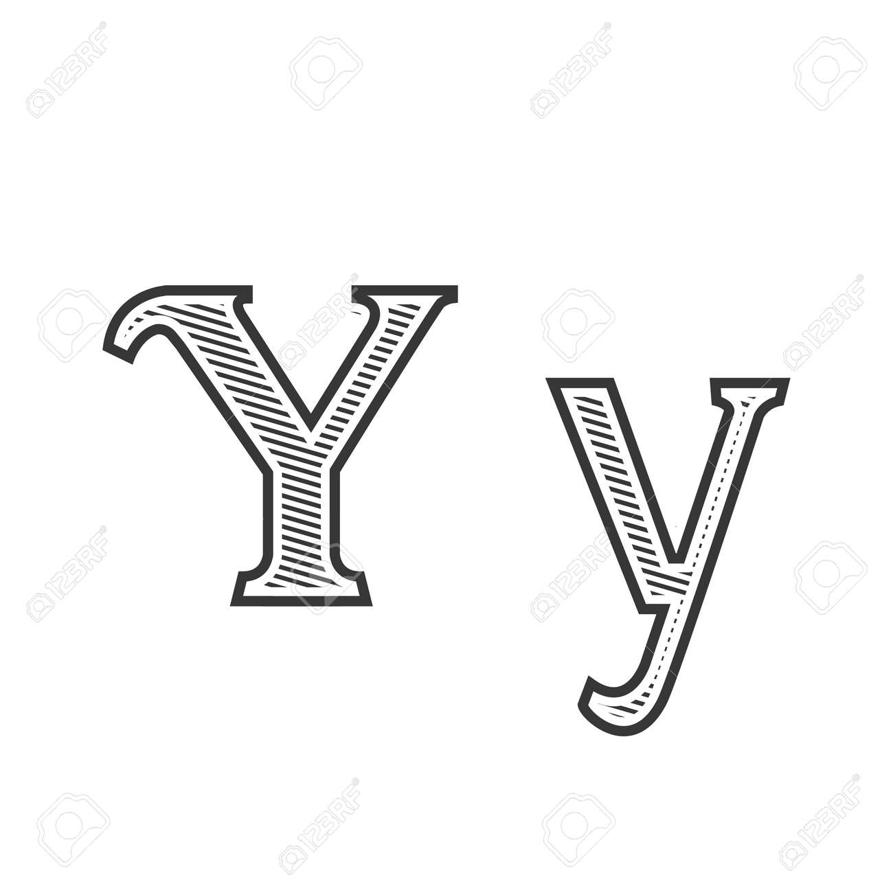 Font Tattoo Engraving Letter Y Black And White With Shading Royalty