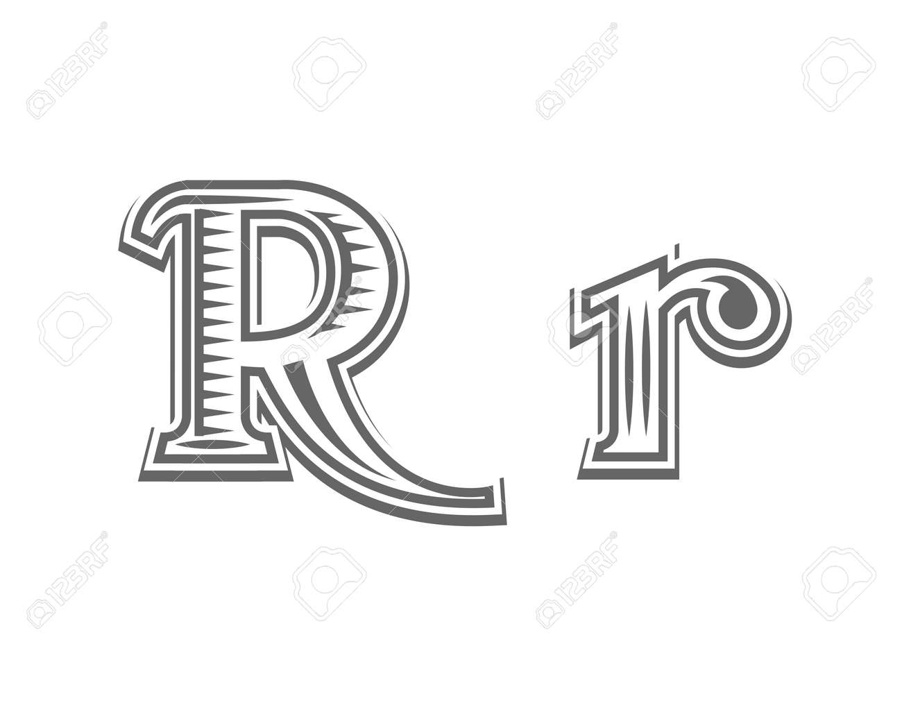 font tattoo engraving letter r black and white vector illustration