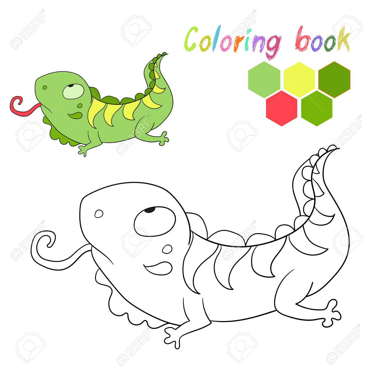 Coloring Book Iguana Kids Layout For Game Doodle Cartoon Hand Drawn Vector Illustration Stock