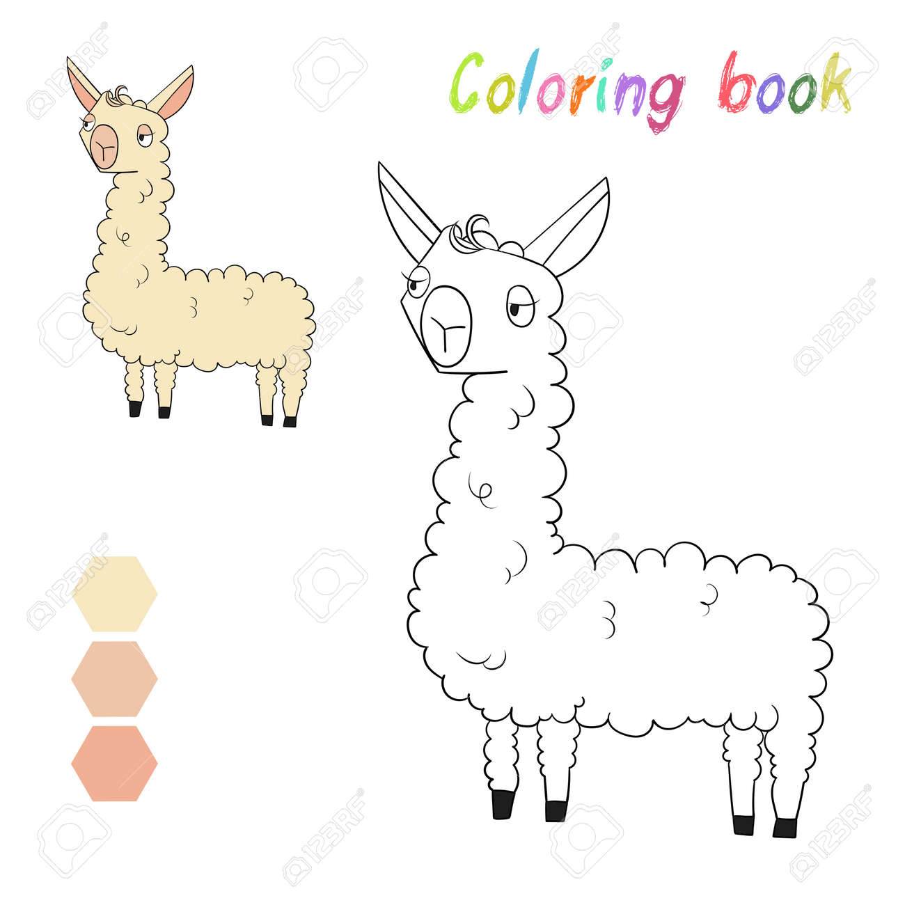 Coloring Book Lama Kids Layout For Game Doodle Cartoon Hand Drawn Vector Illustration Stock