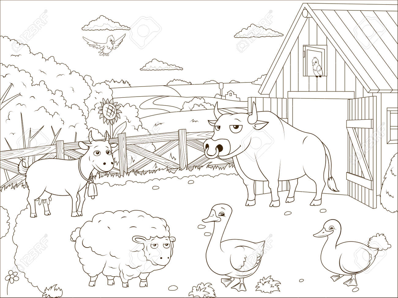 Granja Historieta Libro Para Colorear Obra Educativa Ilustración