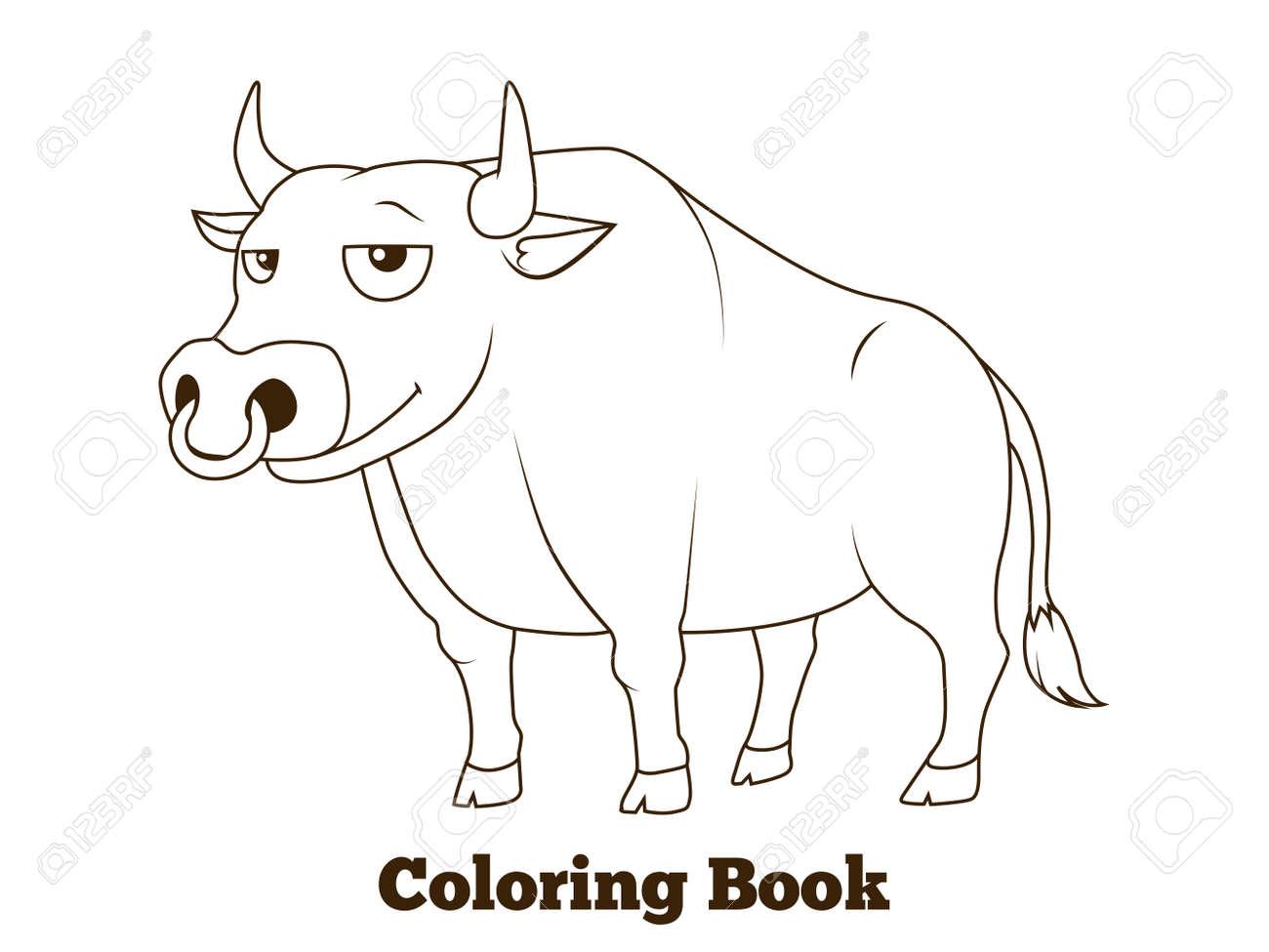 Libro Para Colorear Toro De Dibujos Animados Ilustración Vectorial Educativa