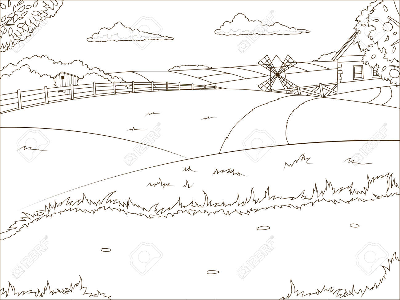 Coloriage Batiment Ferme.Livre De Coloriage Dessin Anime Ferme Vecteur Educatif Illustration