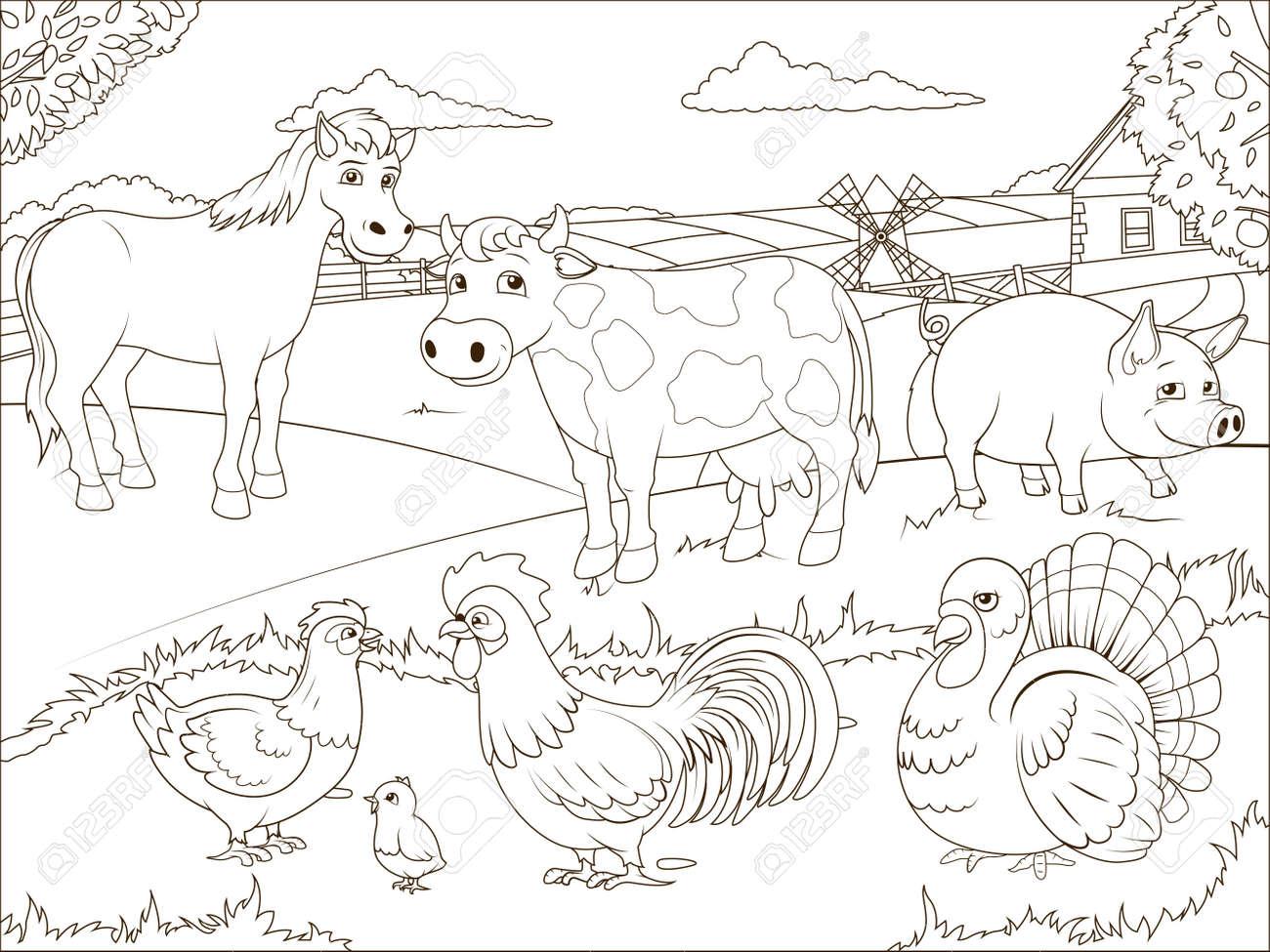 Livre De Coloriage Dessin Animé Ferme Jeu éducatif Illustration Vectorielle