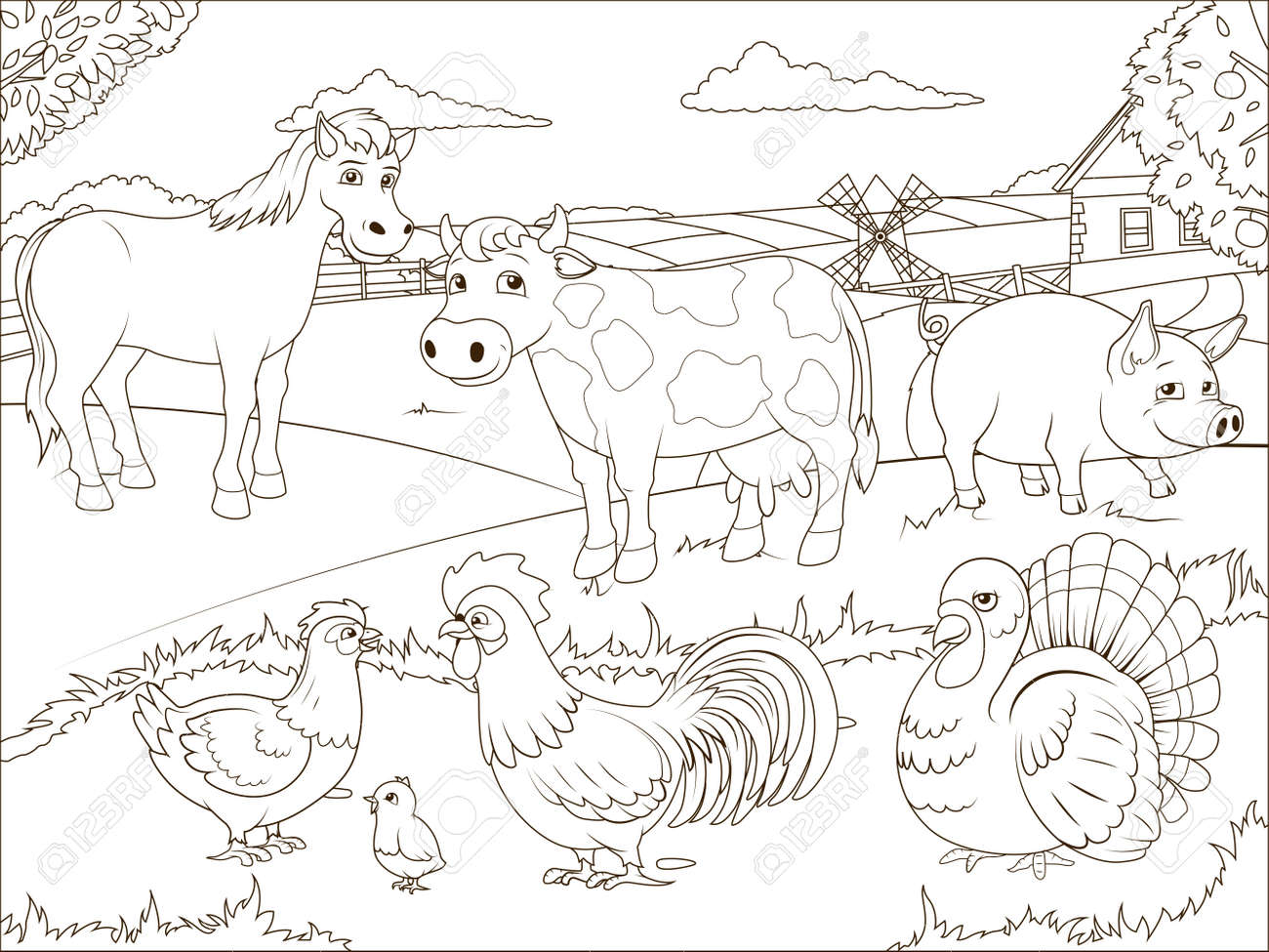Coloriage Batiment Ferme.Livre De Coloriage Dessin Anime Ferme Jeu Educatif Illustration