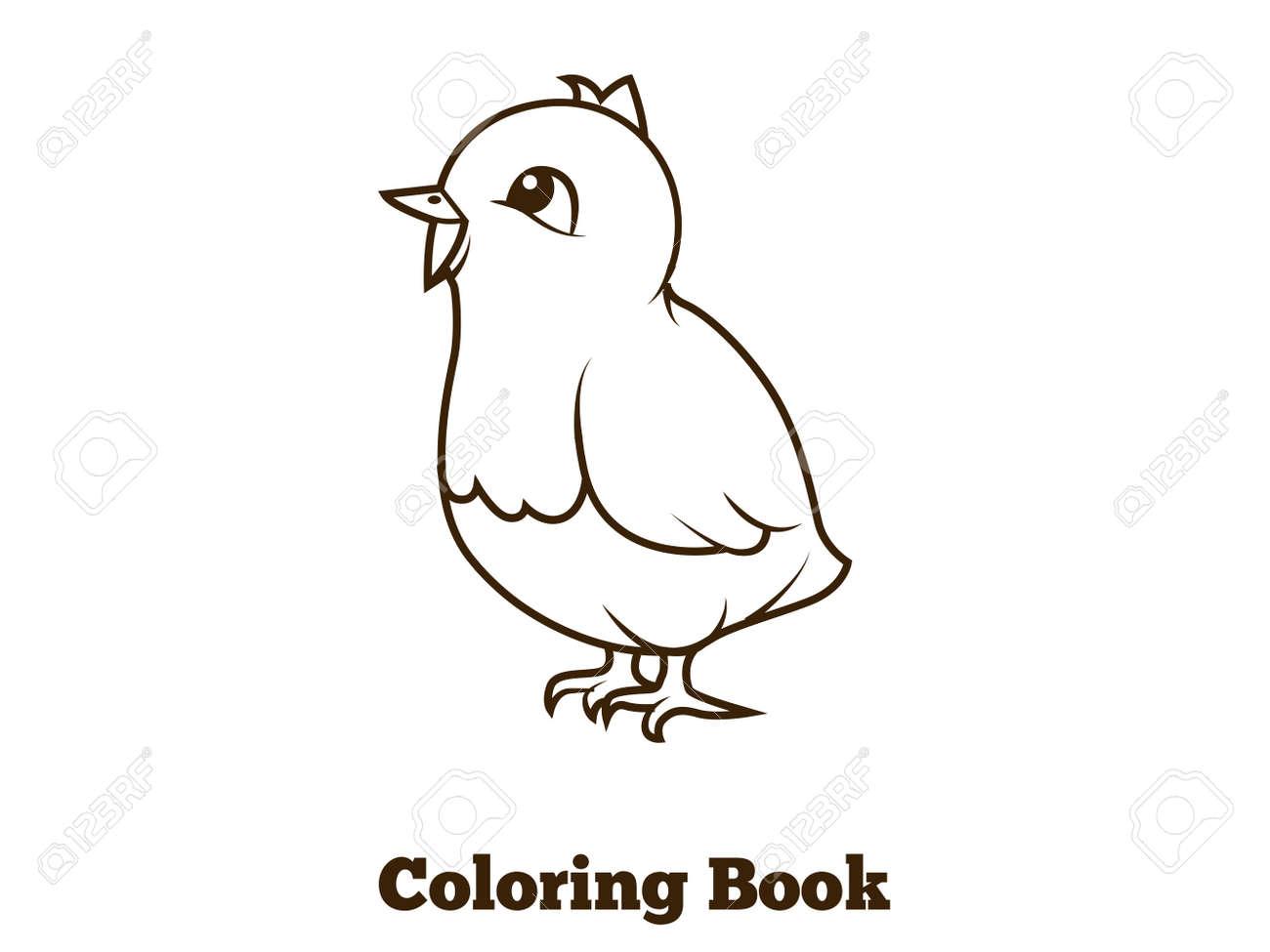 De Dibujos Animados De Pollo Libro Para Colorear Ilustración Vectorial Educativa