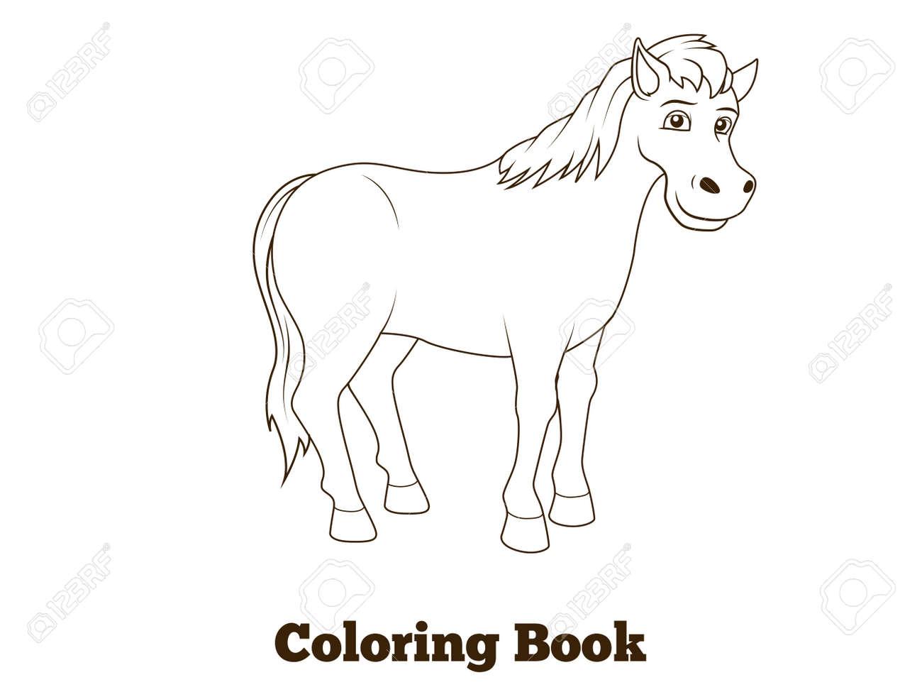 Ilustracion Vectorial Educativa Caballo De Libro Para Colorear De