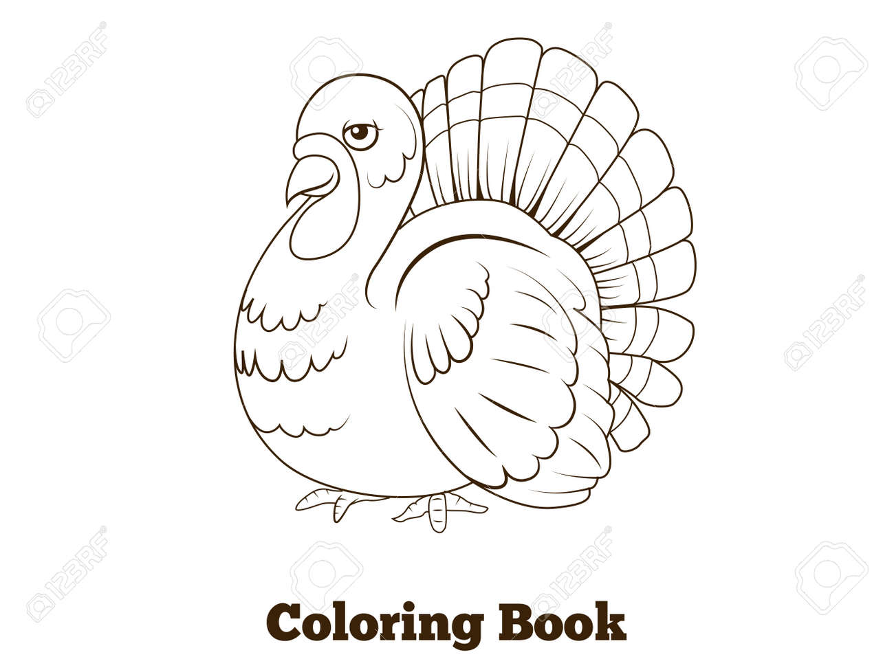Coloring Book Turkey Cartoon Educational Vector Illustration Royalty ...