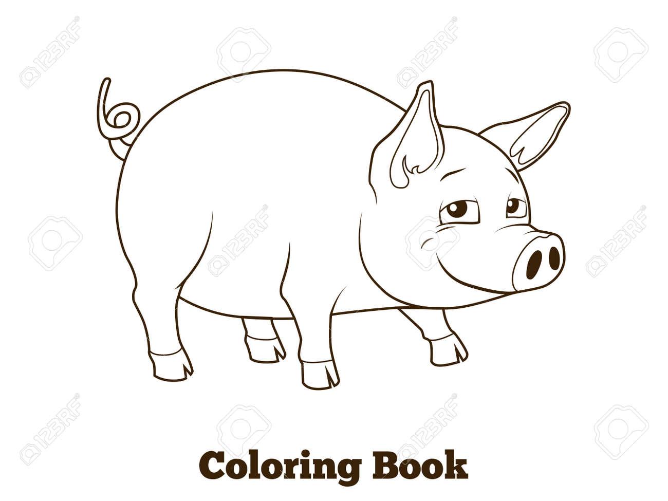 Historieta Del Cerdo Del Libro Para Colorear Ilustración Vectorial