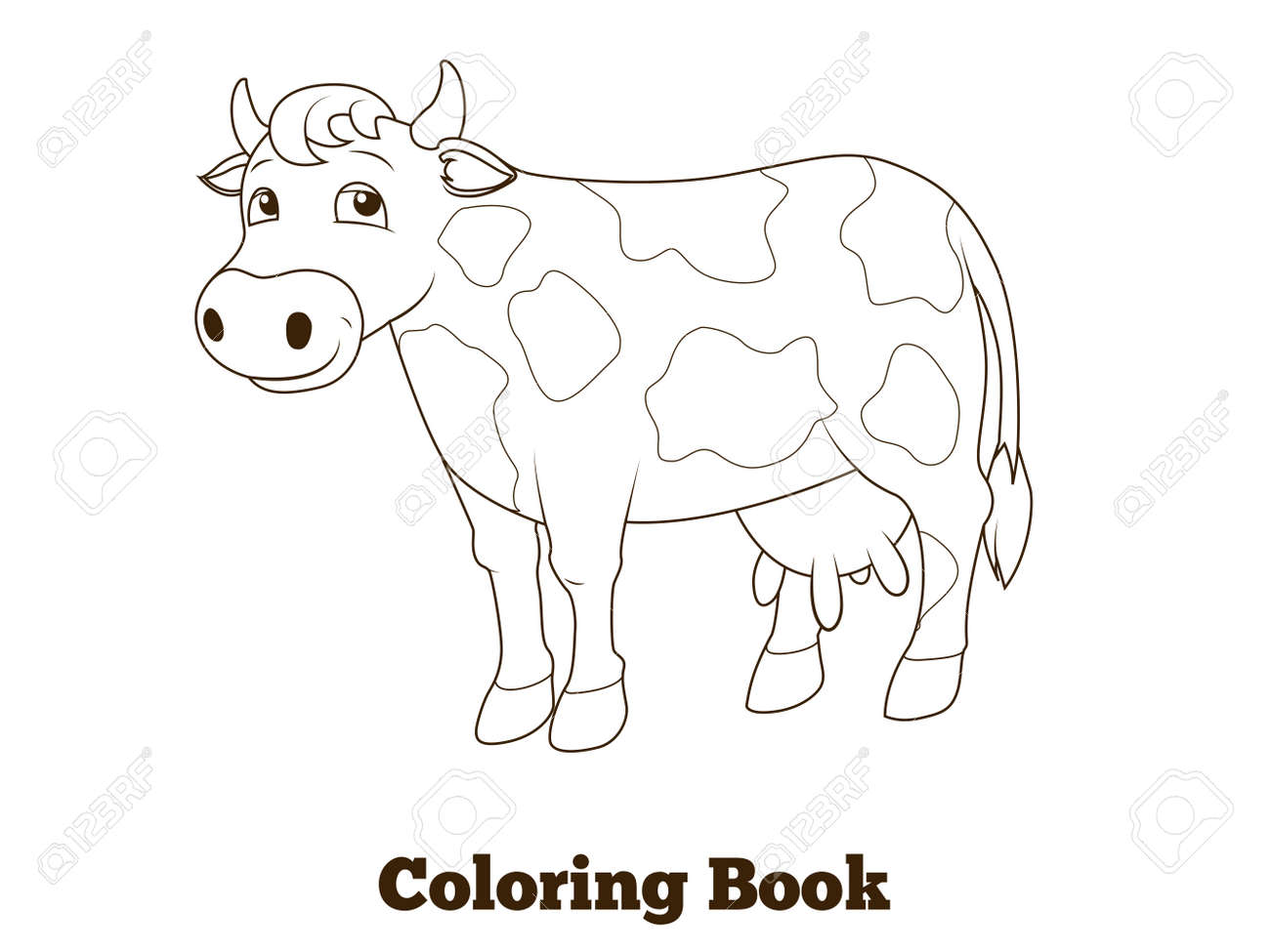 Ilustración Vectorial De Dibujos Animados De La Vaca Educativa Libro Para Colorear
