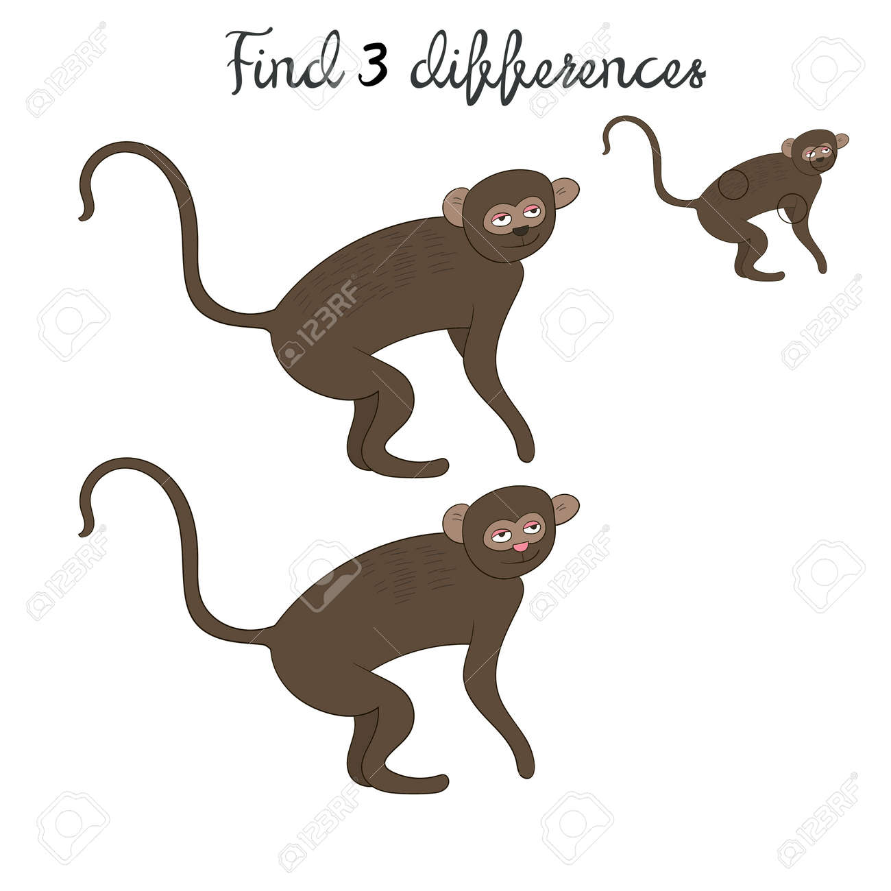 find differences kids layout for game vervet ape monkey hand