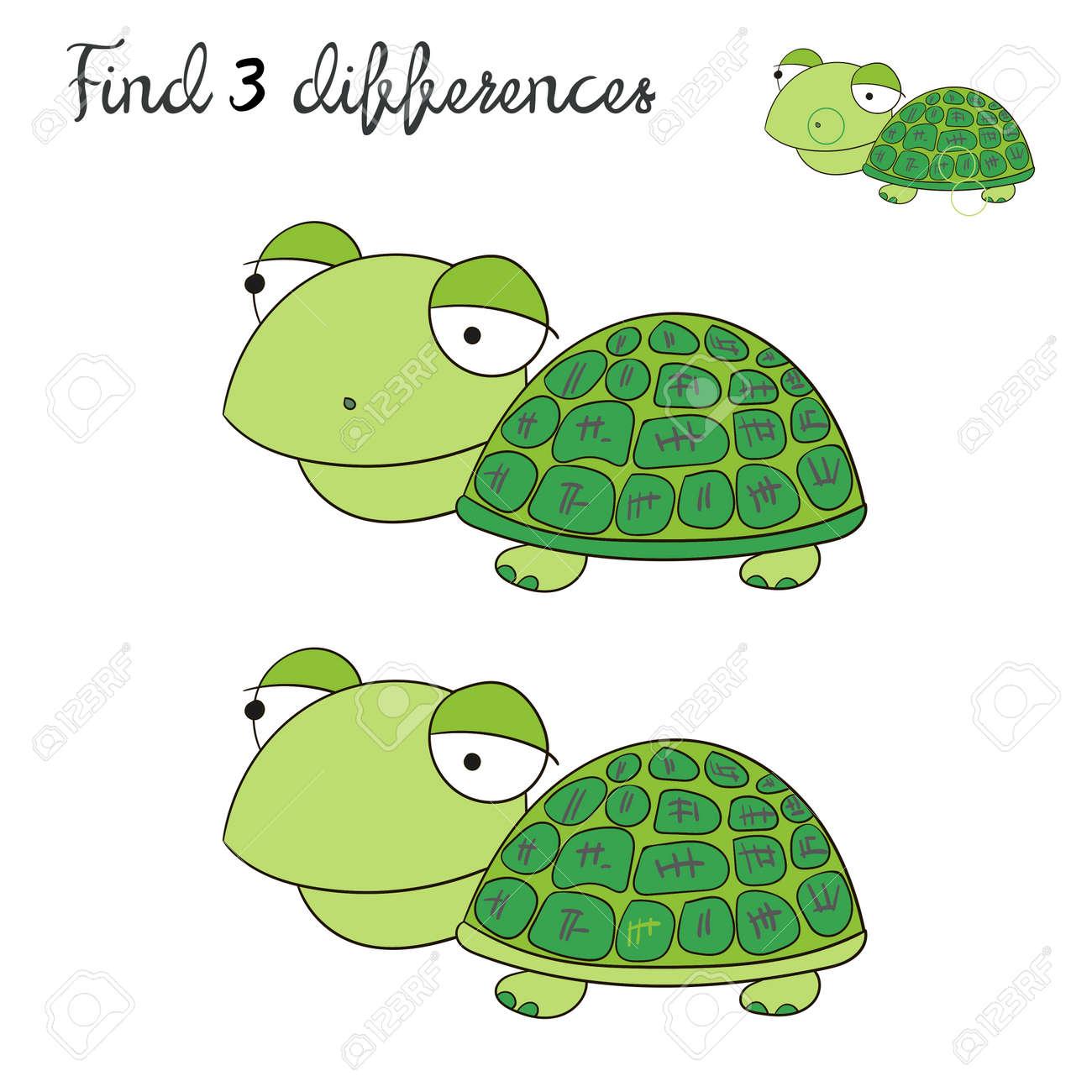 Finden Unterschiede Kinder Layout Für Spiel Schildkröte Schildkröte ...
