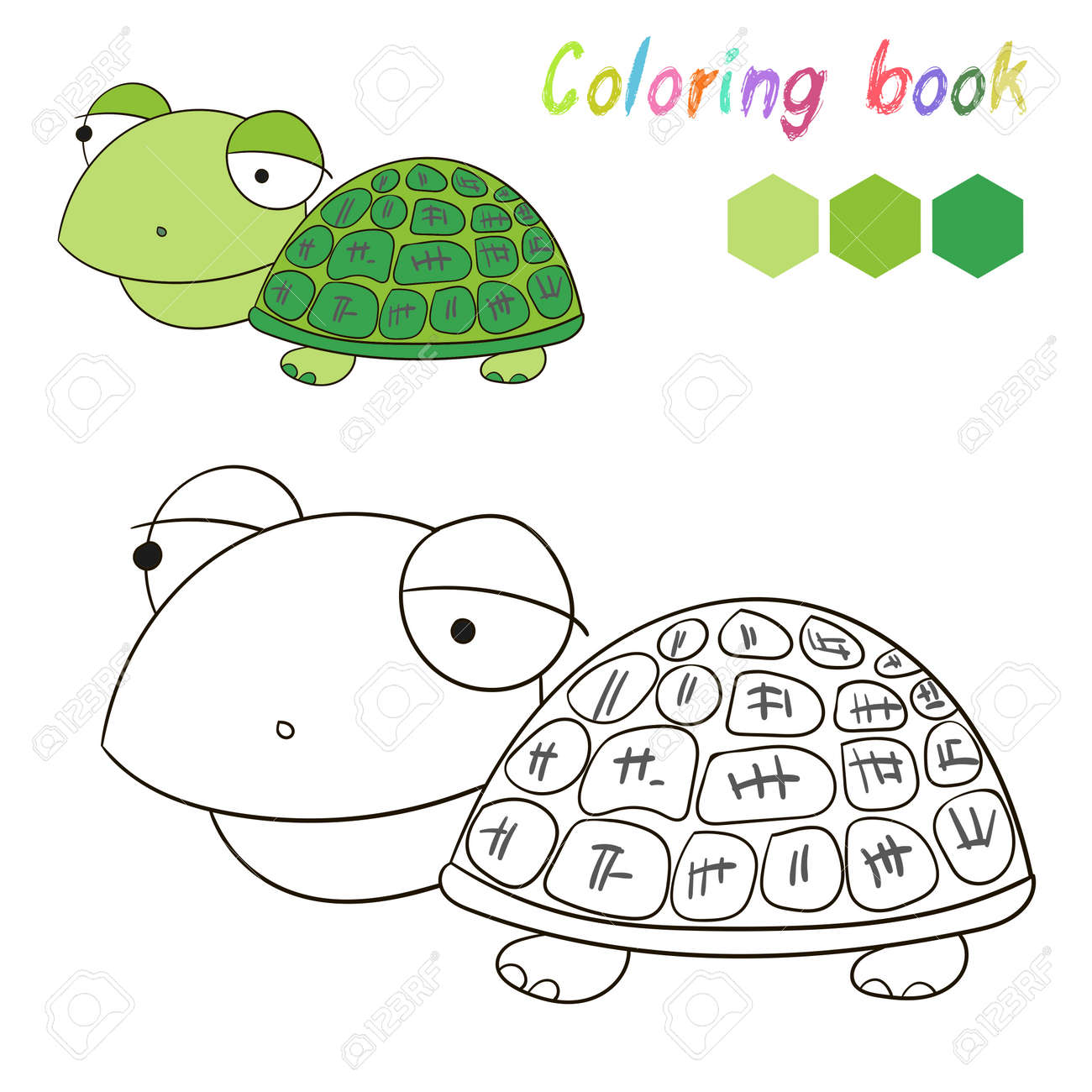 Coloring Book Turtle Kids Layout For Game Hand Drawn Doodle Cartoon ...