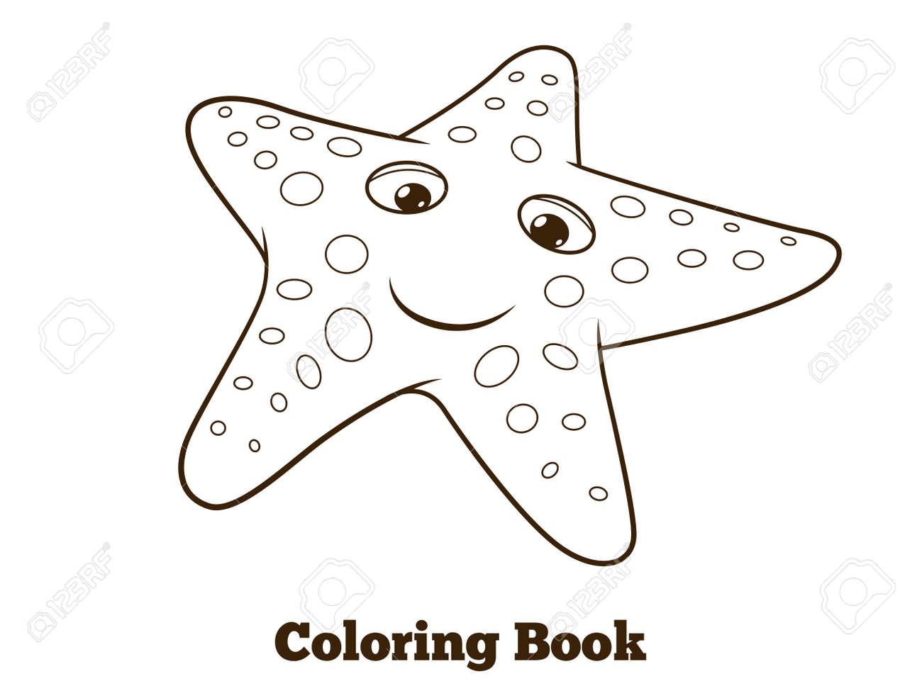 Libro De Las Estrellas De Mar Para Colorear De Dibujos Animados ...