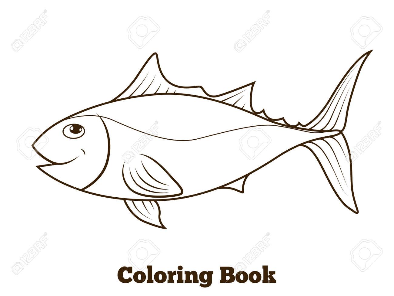 Ilustración Vectorial Educativa Para Colorear Libro De Atunes