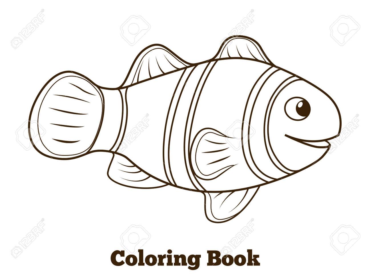Coloring Book Clownfish Fish Cartoon Colorful Vector Educational