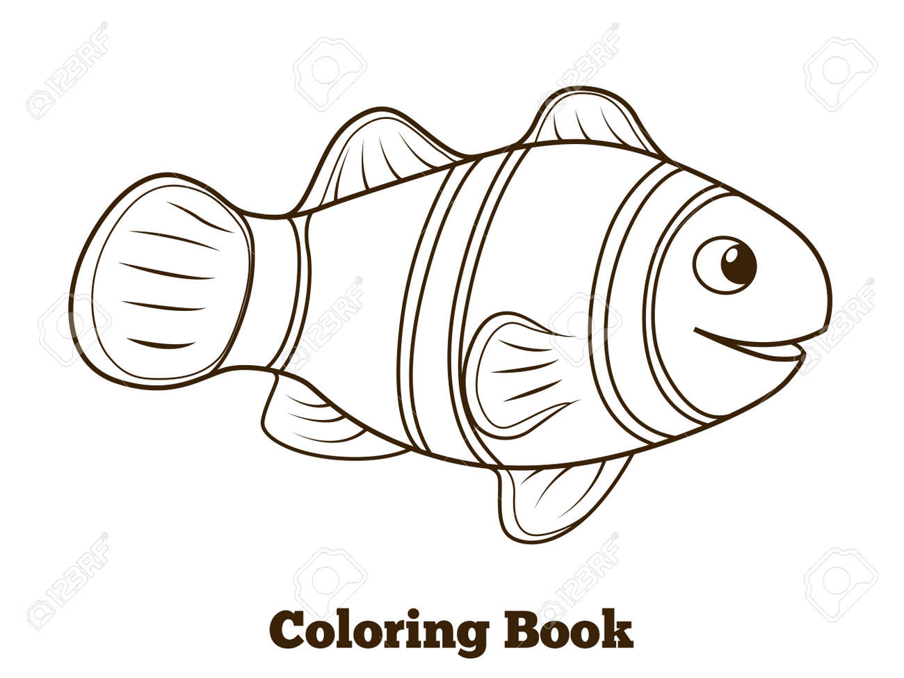 Libro Pez Payaso Para Colorear De Dibujos Animados Peces De Colores