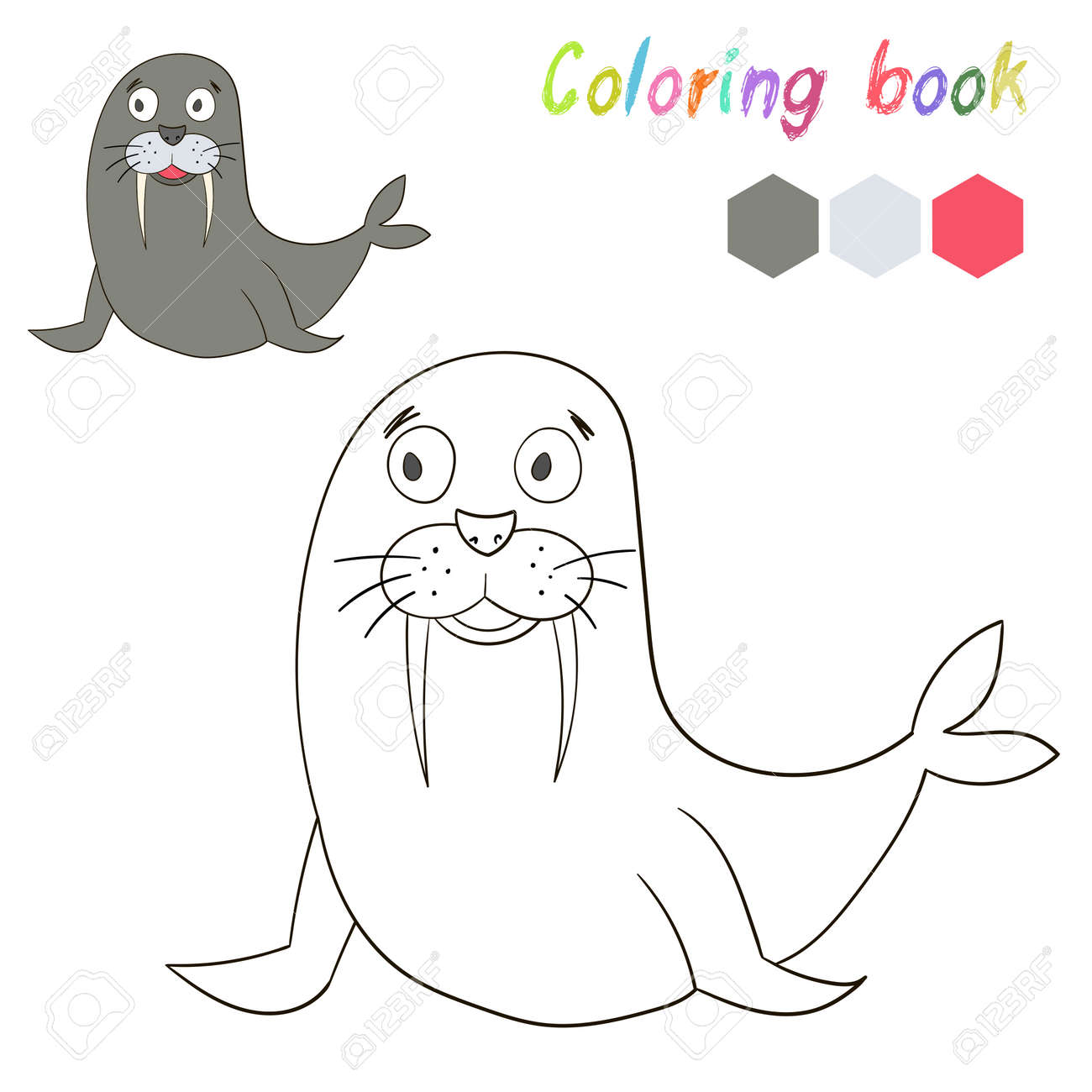 Coloring Book Bird Seal Kids Layout For Game Cartoon Doodle Hand Drawn Vector Illustration Stock