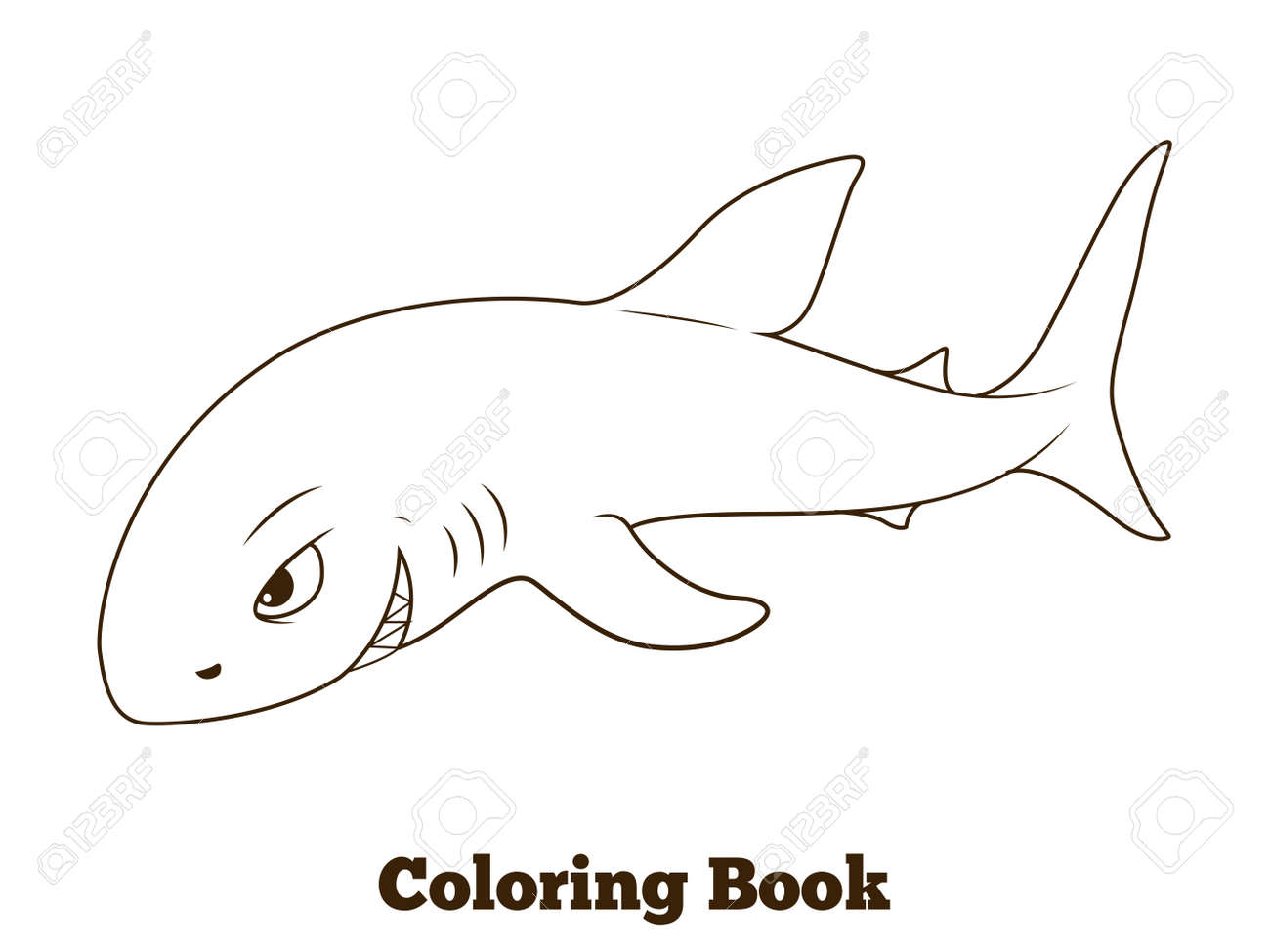 Libro Para Colorear Dibujos Animados De Tiburón Ilustración Vectorial Educativa