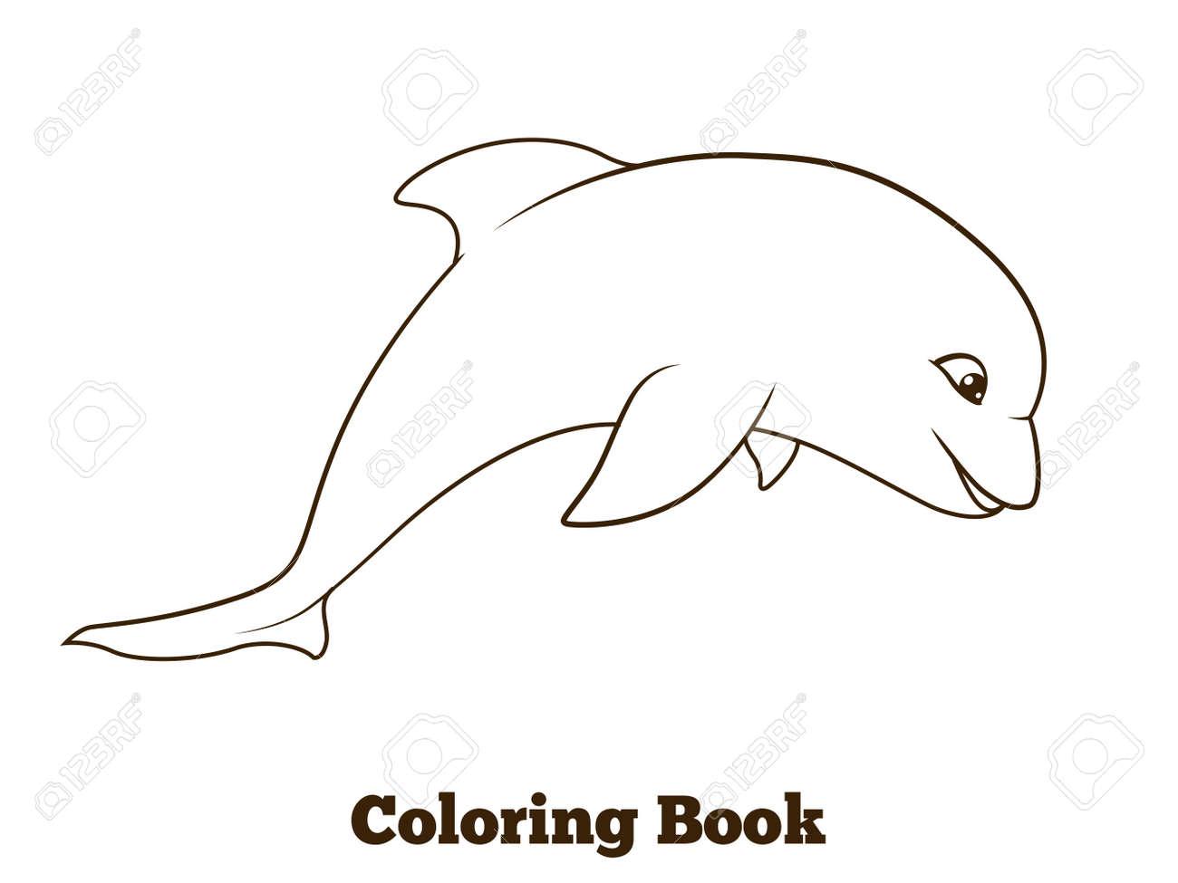 Coloriage Crabe Dauphin.Livre De Coloriage Dessin Anime Dauphin Vecteur Educatif