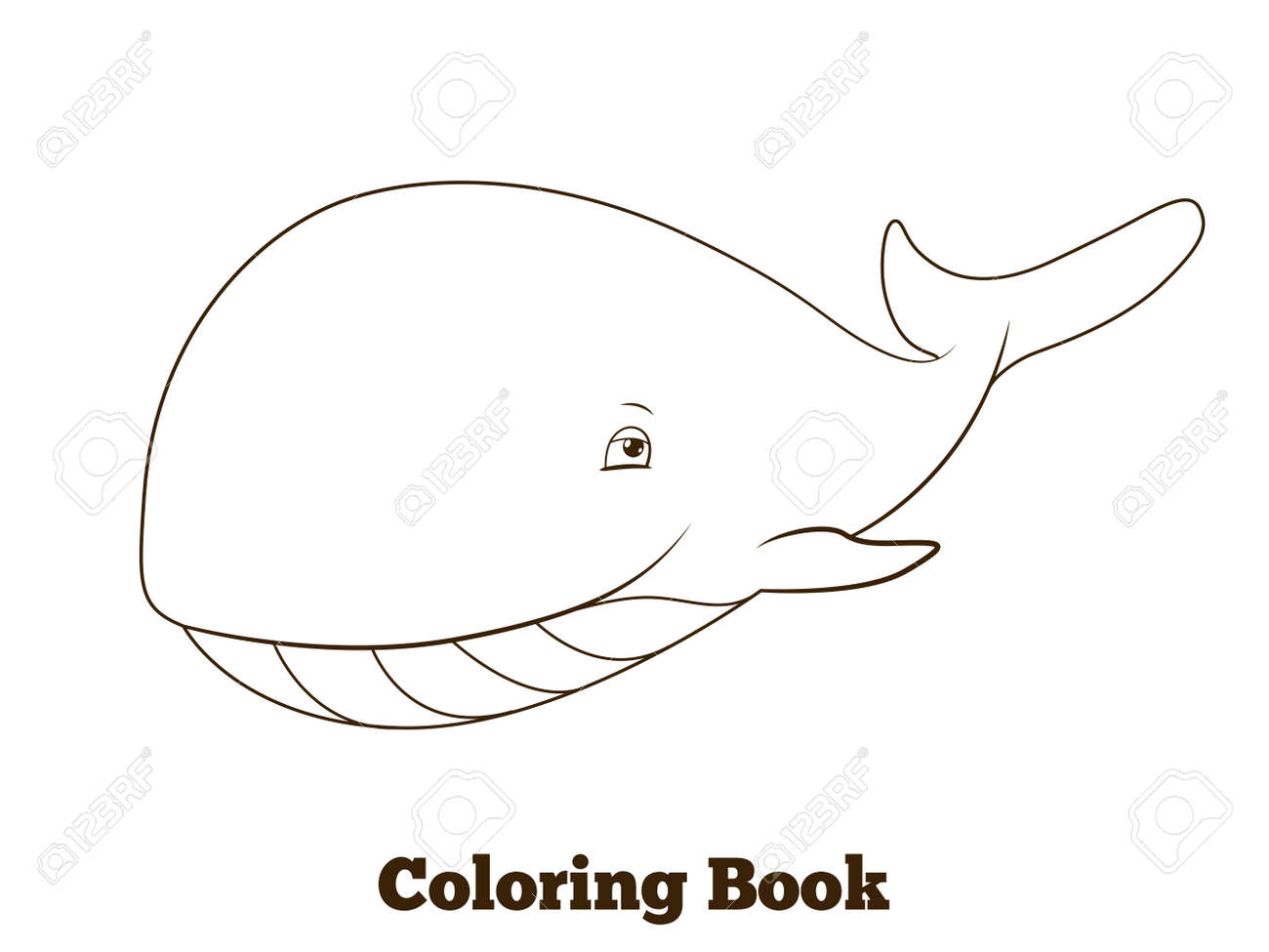 Coloring Book Whale Cartoon Educational Vector Illustration