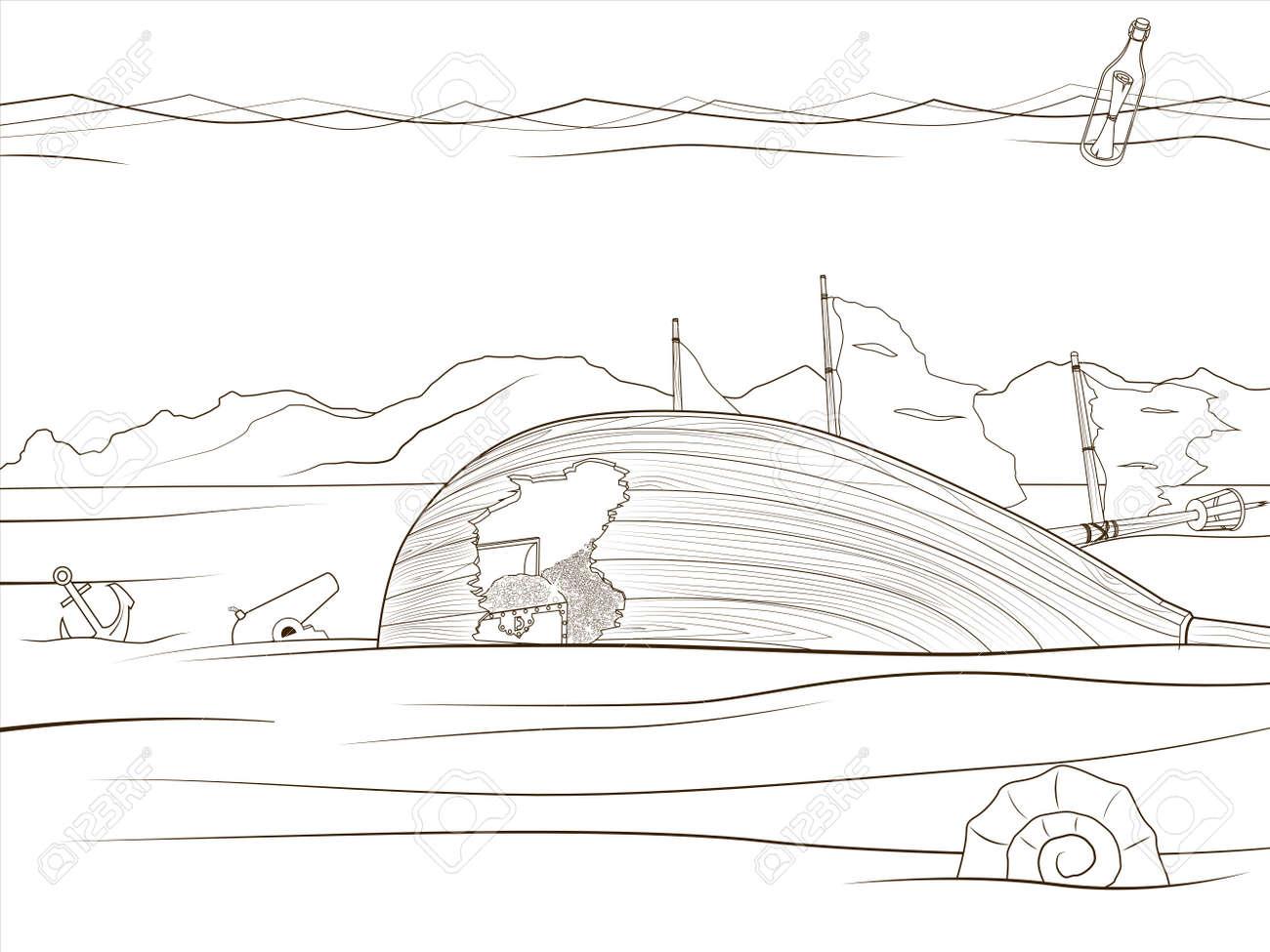 Educación Para Colorear Juego De La Vida Bajo El Agua Ilustración Vectorial De Dibujos Animados